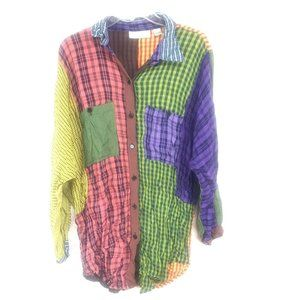 Sacred Threads patchwork plaid tunic top size L